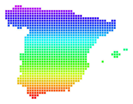 Bright Spectral Dotted Spain Map. Illustration