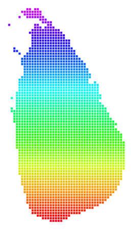 Bright Spectral Dot Sri Lanka Island Map. Çizim