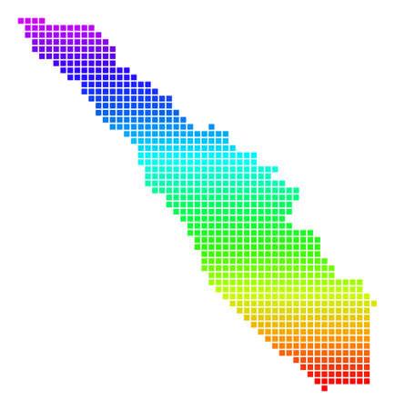 Colored Spectrum Pixel Sumatra Island Map.