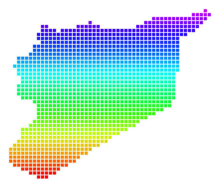 Colored Spectral Dot Syria Map. Illustration