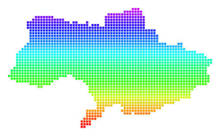 Colored Spectral Dot Ukraine Map.
