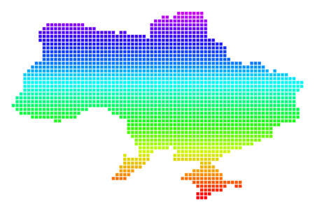 Colored Spectrum Pixel Ukraine Map With Crimea. Illusztráció