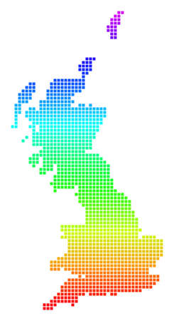 Bright Spectral Dotted Great Britain Map.