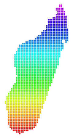 Bright Spectral Pixel Madagascar Island Map.