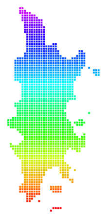 Bright Rainbow Pixel Phuket Map. Vector geographic map in bright spectral colors with vertical gradient. Color vector mosaic of Phuket Map made of rounded square parts.
