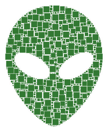 Alien Face mosaic icon of squares and round items in variable sizes. Illustration
