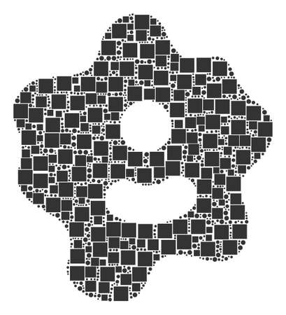 Amoeba collage icon of square shapes and circles in various sizes. Vector objects are united into amoeba illustration design concept.