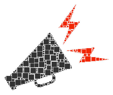 Alert Megaphone mosaic icon of rectangles and spheric dots in variable sizes. Vector objects are scattered into alert megaphone illustration design concept.
