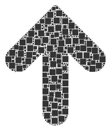 Arrow Up mosaic icon of squares and spheric dots in various sizes. Vector items are formed into arrow up mosaic design concept. Illustration