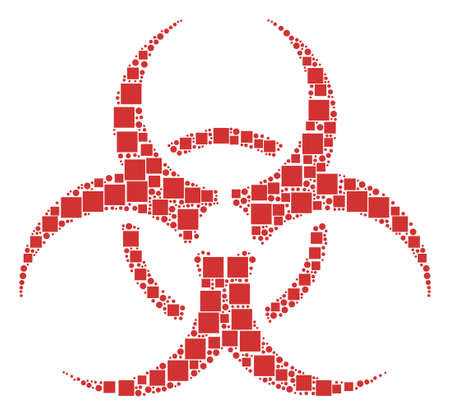 Biohazard mosaic icon of square figures and circles in various sizes. Vector objects are organized into biohazard mosaic design concept.