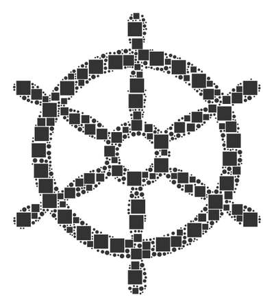 Boat Steering Wheel composition icon of rectangles and circles in different sizes.