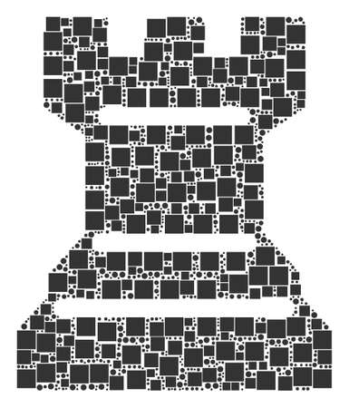 Chess Tower composition icon of rectangles and circles in variable sizes. Vector objects are united into chess tower collage design concept.