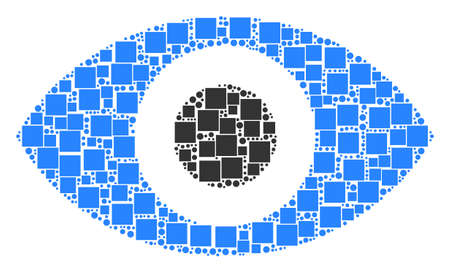 Eye collage icon of square shapes and circles in different sizes. Vector items are composed into eye illustration design concept.