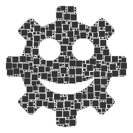 Gear Smile Smiley composition icon of square shapes and circles in different sizes. Vector items are formed into gear smile smiley composition design concept.