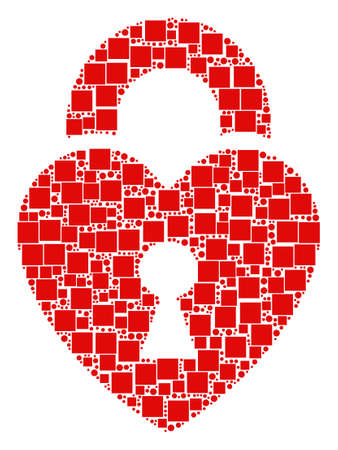 Heart Lock collage icon of squares and circles in various sizes. Vector objects are grouped into heart lock collage design concept. Illustration