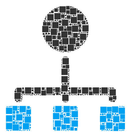 Hierarchy mosaic icon of square figures and round items in different sizes. Vector objects are scattered into hierarchy mosaic design concept.
