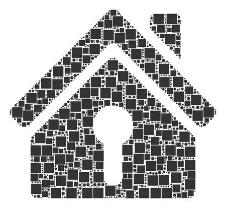 Home Keyhole collage icon of square figures and spheric dots in variable sizes. Vector objects are formed into home keyhole composition design concept.