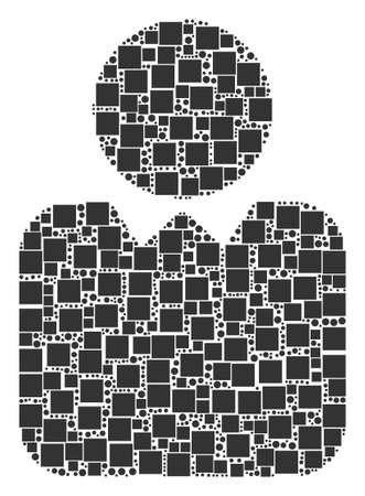 Person mosaic icon of rectangles and circles in variable sizes. Vector objects are united into person illustration design concept. Illustration