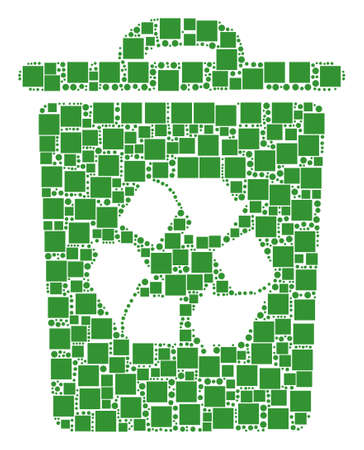 Recycle Bin collage icon of rectangles and circle particles in different sizes. Vector items are formed into recycle bin composition design concept. 向量圖像