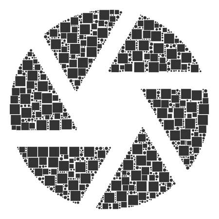 Shutter mosaic icon of square shapes and spheric dots in variable sizes. Vector objects are formed into shutter composition design concept. Illustration