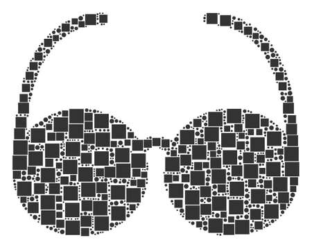 Spectacles mosaic icon of square shapes and circles in variable sizes. Vector objects are united into spectacles composition design concept.