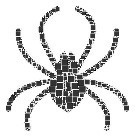 Spider mosaic icon of square figures and circle particles in variable sizes. Vector objects are combined into spider mosaic design concept.