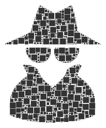 Spy collage icon of square shapes and circles in different sizes. Vector items are united into spy collage design concept. Ilustração