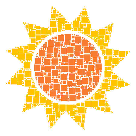 Sun composition icon of rectangles and circles in different sizes. Vector objects are scattered into sun composition design concept.