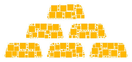 Treasure Bricks collage icon of rectangles and round items in different sizes. Vector objects are formed into treasure bricks collage design concept.