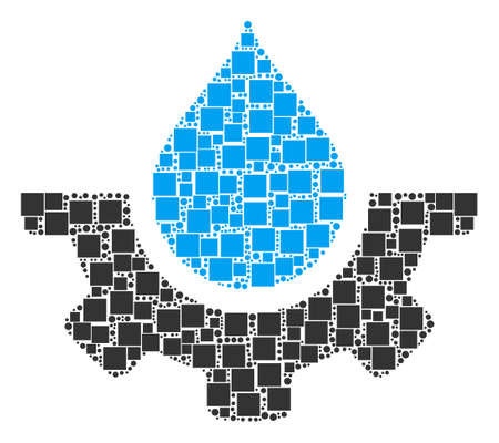 Water Service mosaic icon of square shapes and round items in variable sizes. Vector objects are organized into water service composition design concept. Illustration