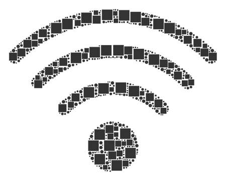 Wi-Fi Source collage icon of rectangles and round items in different sizes. Vector items are grouped into wi-fi source composition design concept.