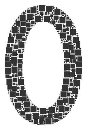 Zero Digit collage icon of squares and circles in variable sizes. Vector items are united into zero digit collage design concept.
