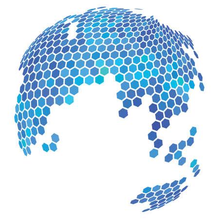 Hexagon Earth Abstract Globe vector illustration. Modern 3d effect design for business. Illustration