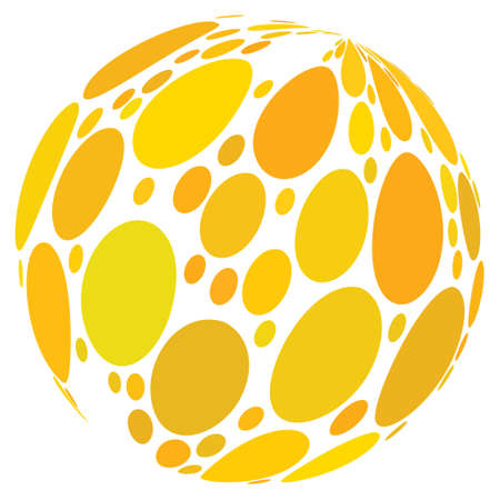 Yellow Spot Abstract Sphere raster illustration. Modern 3d effect design for business.