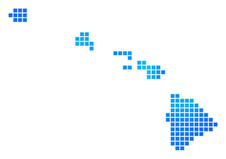Blue Pixel Havaii Islands Map. Raster geographic map in cold blue color shades. Raster pattern of Havaii Islands Map designed of regular rectangle elements. Stock Photo