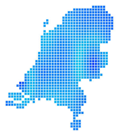 Blue Pixel Netherlands Map. Raster geographic map in cold blue color tinges. Raster composition of Netherlands Map combined with regular small rectangles. Stock Photo