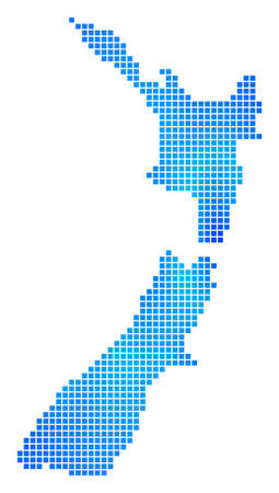 Blue Dotted New Zealand Map. Raster geographic map in cold blue color variations. Raster mosaic of New Zealand Map composed with regular square pixels.