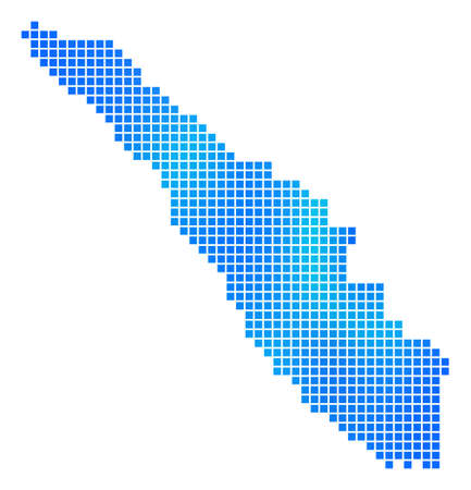 Blue Dotted Sumatra Island Map. Raster geographic map in blue color tones. Raster composition of Sumatra Island Map constructed of regular dots. Stock Photo