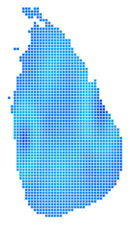 Blue Dot Sri Lanka Island Map. Raster geographic map in blue color hues. Raster mosaic of Sri Lanka Island Map constructed with regular rectangle elements.
