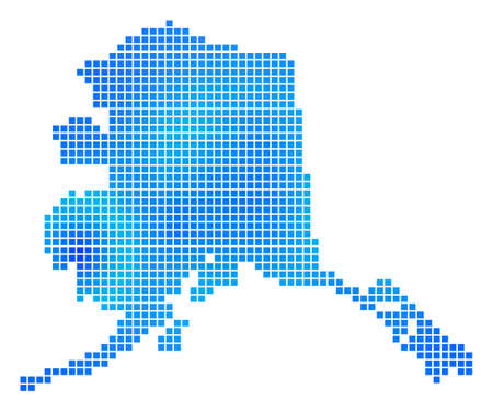 Blue Dotted Alaska Map. Vector geographic map in blue color tinges. Vector concept of Alaska Map designed with regular dots.