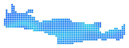 Blue Pixel Crete Island Map. Vector geographic map in cold blue color variations. Vector mosaic of Crete Island Map made of regular square dots.