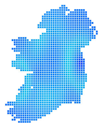 Blue Dot Ireland Map. Vector geographic map in cold blue color variations. Vector composition of Ireland Map composed with regular small rectangles.