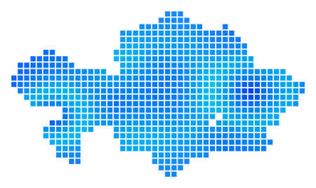 Blue Dotted Kazakhstan Map. Vector geographic map in cold blue color shades. Vector composition of Kazakhstan Map constructed of regular rectangle elements.