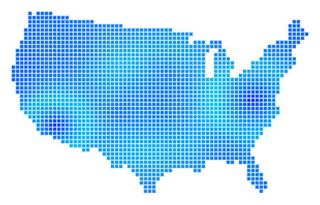 Blue Dot USA Map. Vector geographic map in blue color tints. Vector pattern of USA Map constructed with regular small rectangles.