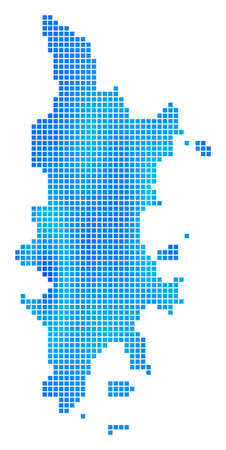 Blue Dotted Phuket Map. Vector geographic map in blue color tints. Vector collage of Phuket Map constructed of regular square dots.