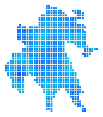 Blue Dotted Peloponnese Half-Island Map. Vector geographic map in cold blue color tints. Vector composition of Peloponnese Half-Island Map done with regular square elements.