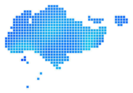 Blue Dotted Singapore Map. Vector geographic map in blue color tones. Vector pattern of Singapore Map designed of regular square particles.