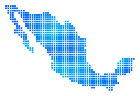 Blue Dotted Mexico Map. Vector geographic map in blue color variations. Vector composition of Mexico Map formed with regular square dots.