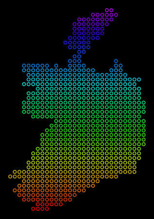 Bright Spectral Ireland Republic Map.