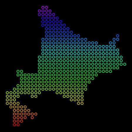 Colored Rainbow Hokkaido Island Map. Vector geographic map in bright spectrum colors with vertical gradient on a black background. Color vector collage of Hokkaido Island Map created of circle dots. Illustration